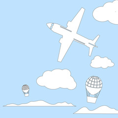 Aircraft and air balloons in the cloudy sky vector illustration with place for text.