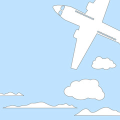 Air plane and sky with clouds square vector illustration with place for text.