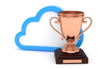 Isoalted bronze cup with cloud on white background. Blue contour cloud. Concept of cloud storage competition. Leader cloud drive. Best storage contest. 3D rendering.
