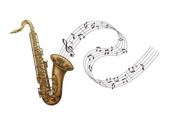 Saxophone music, jazz vector illustration