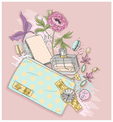 Background with purse, mobile phone, perfume,flower, jewelry and
