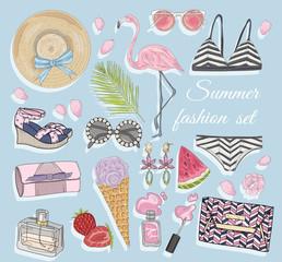Summer fashion vector accessories set.