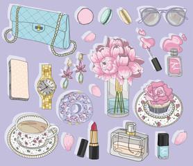 Fashion accessories set. Background with bag, sunglasses, jewele