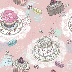 Seamless pattern with cupcakes, tea and macaroons. Cute vector b
