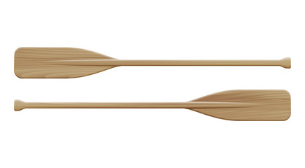 Two wooden paddles. Sport oars.
