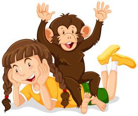 Happy girl and cute monkey