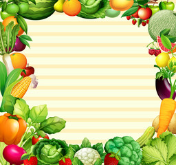 Frame design with vegetables and fruits