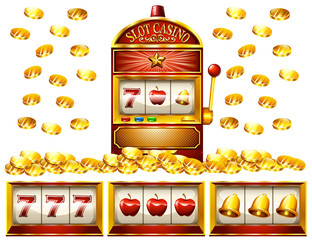 Slot machine and golden coins