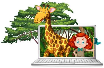 Girl and giraffe on computer screen