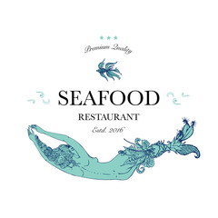 Seafood restaurant and seafood menu identity - Logo with mermaid with ornate tail. Vector Illustration
