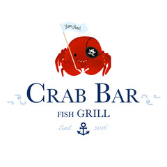 Seafood restaurant and seafood menu identity - Crab bar logo with cute pirate crab. Vector Illustration
