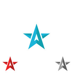 Logo star form upward arrows, creative shape letter A, concept diraction sign, symbol leader