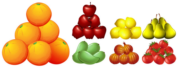 Piles of different kinds of fruits