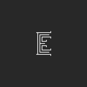 Letter E logo monogram mediaeval style, wedding or business card simple black and white initial emblem mockup