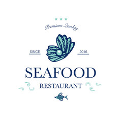 Seafood restaurant and seafood menu identity - Logo with sea shell and pearl. Vector Illustration