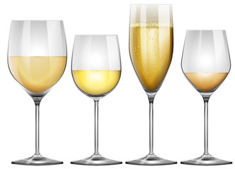 White wine in tall glasses
