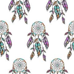 Dreamcatcher seamless pattern. Boho pattern. Vector illustration