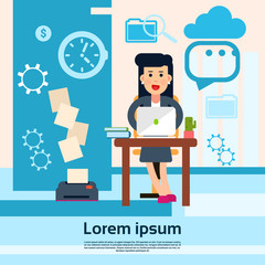 Business Woman Sitting Desk Office Working Place Laptop