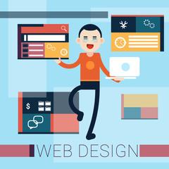 Man Web Designer Graphic Design Background