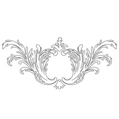 Graphical vintage baroque scroll ornament illustration. Vector.