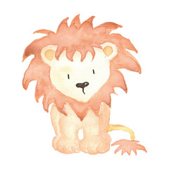 Lion Watercolor hand-painted illustration isolated cute animals little baby