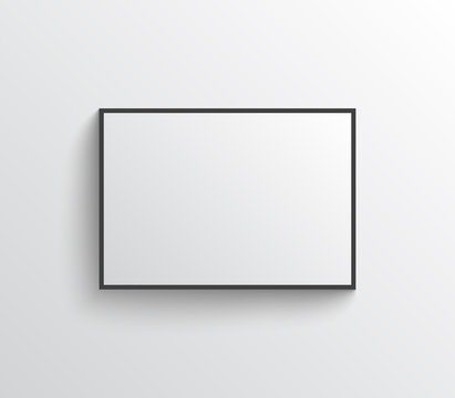 White empty poster with frame mock-up on grey wall