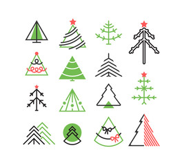 Vector set of graphical color Christmas tree icons, signs, symbo