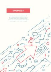 Business Success - line design brochure poster template A4