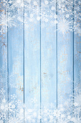 Blue wood winter background