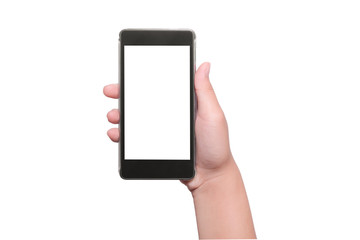 Hand with smart phone isolated, clipping path