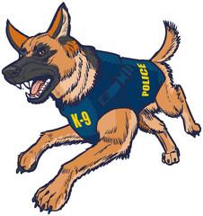 Police K9 German Shepherd Dog with Bulletproof Vest Illustration