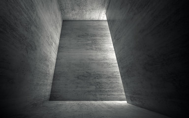 3d Abstract empty gray concrete room interior