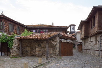NESSEBAR, BULGARIA, JUNY 20, 2016: architectural solutions Nessebar old town buildings. residential quarter.