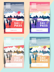 Set of vector ski pass template design. Trendy colorful mountain background