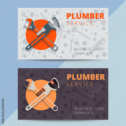 Set of professional plumbing service business card templates vector set of professional plumbing service business card templates vector reheart Gallery