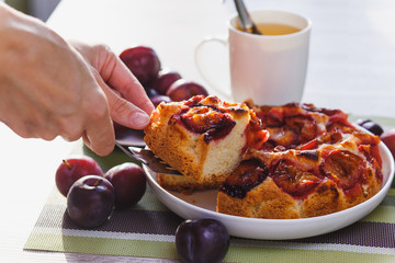 Plum cake and cup of tea