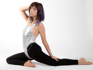 Fit Woman in Shiny Silver Leotard and Black Leggings
