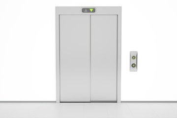 Modern elevator with closed doors, 3D rendering