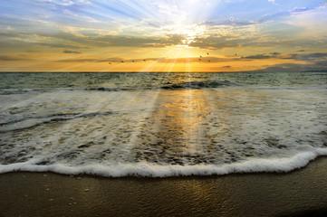 Wall Mural - Ocean Sunset Rays