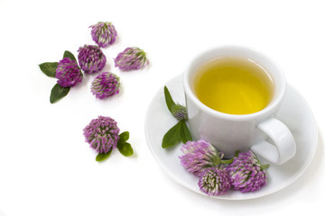 Herbal tea with flowers of clover