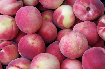 Mounds of white peaches for market