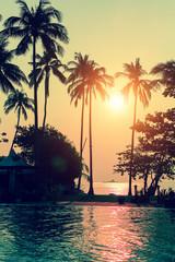 Tender sunset on the beach in the subtropics.