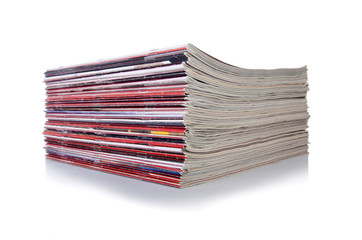 Stack of magazine isolated on the white background