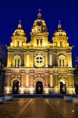 Fond de hotte en verre imprimé Vienne St. Joseph Cathedral at night time, Beijing, China, also known as the Orient Cathedral, built in 1655