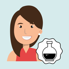 woman happy face tube lab
