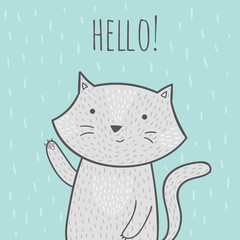 Cute hand drawn doodle card with a cat that says hello.