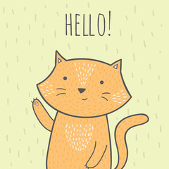 Cute hand drawn doodle card with a cat that says hello