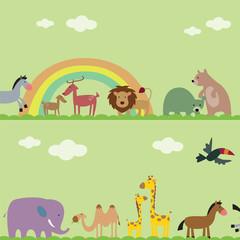 vector collection of animal -  lion, bear, deer, camel, giraffe, elephant, bird