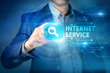 Business, internet, technology concept.Businessman chooses Inter