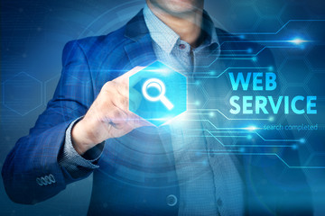 Business, internet, technology concept.Businessman chooses Web S